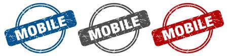 mobile stamp. mobile sign. mobile label set Ilustracja