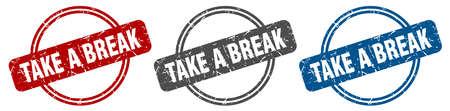 take a break stamp. take a break sign. take a break label set Ilustracja
