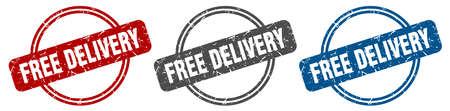 free delivery stamp. free delivery sign. free delivery label set