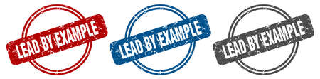 lead by example stamp. lead by example sign. lead by example label set Ilustracja