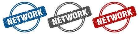 network stamp. network sign. network label set Ilustracja