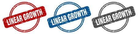 linear growth stamp. linear growth sign. linear growth label set