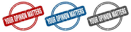 your opinion matters stamp. your opinion matters sign. your opinion matters label set Ilustracja