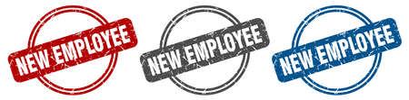 new employee stamp. new employee sign. new employee label set
