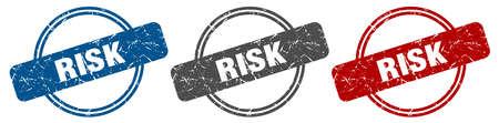 risk stamp. risk sign. risk label set Ilustracja