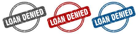 loan denied stamp. loan denied sign. loan denied label set