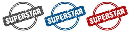superstar stamp. superstar sign. superstar label set Ilustracja