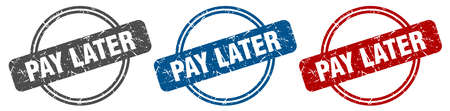 pay later stamp. pay later sign. pay later label set