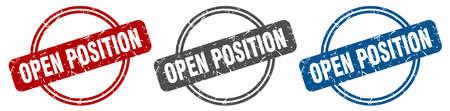 open position stamp. open position sign. open position label set Ilustracja