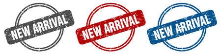 new arrival stamp. new arrival sign. new arrival label set