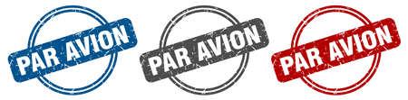 par avion stamp. par avion sign. par avion label set