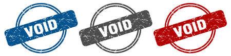 void stamp. void sign. void label set Ilustracja