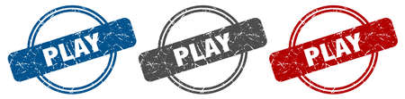 play stamp. play sign. play label set Ilustracja