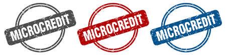 microcredit stamp. microcredit sign. microcredit label set