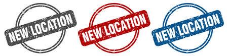 new location stamp. new location sign. new location label set Ilustracja