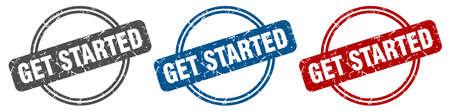 get started stamp. get started sign. get started label set Vector Illustratie
