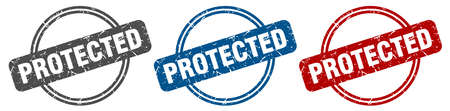 protected stamp. protected sign. protected label set