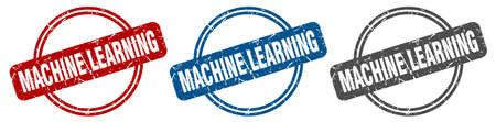 machine learning stamp. machine learning sign. machine learning label set Ilustracja