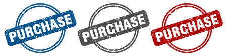 purchase stamp. purchase sign. purchase label set Ilustracja