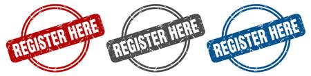 register here stamp. register here sign. register here label set
