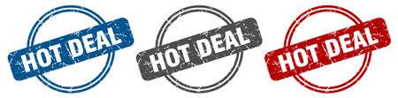 hot deal stamp. hot deal sign. hot deal label set