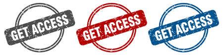 get access stamp. get access sign. get access label set Ilustracja