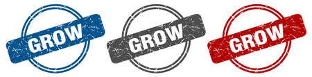 grow stamp. grow sign. grow label set