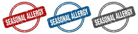 seasonal allergy stamp. seasonal allergy sign. seasonal allergy label set