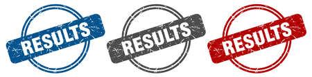 results stamp. results sign. results label set Ilustracja