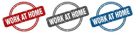 work at home stamp. work at home sign. work at home label set