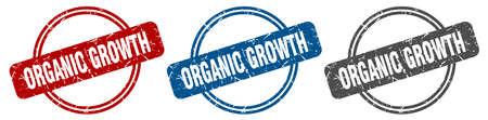 organic growth stamp. organic growth sign. organic growth label set
