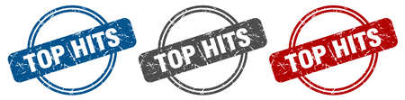 top hits stamp. top hits sign. top hits label set