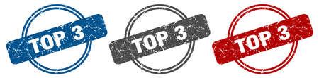 top 3 stamp. top 3 sign. top 3 label set