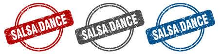 salsa dance stamp. salsa dance sign. salsa dance label set