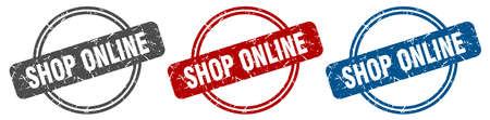 shop online stamp. shop online sign. shop online label set Ilustracja