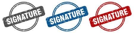signature stamp. signature sign. signature label set Ilustracja