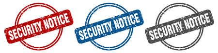 security notice stamp. security notice sign. security notice label set