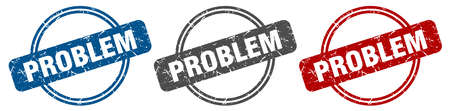 problem stamp. problem sign. problem label set Ilustracja