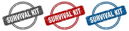 survival kit stamp. survival kit sign. survival kit label set Ilustracja