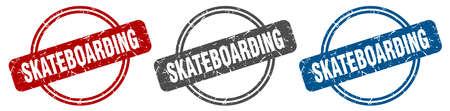 skateboarding stamp. skateboarding sign. skateboarding label set