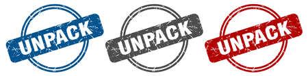 unpack stamp. unpack sign. unpack label set Ilustracja