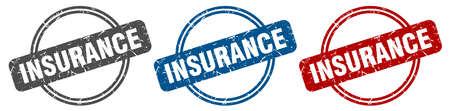 insurance stamp. insurance sign. insurance label set