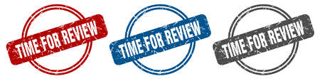 time for review stamp. time for review sign. time for review label set Ilustracja