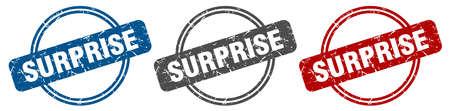 surprise stamp. surprise sign. surprise label set