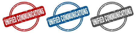 unified communications stamp. unified communications sign. unified communications label set