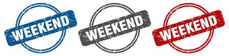 weekend stamp. weekend sign. weekend label set