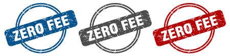zero fee stamp. zero fee sign. zero fee label set