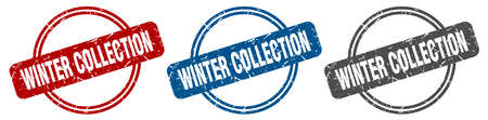 winter collection stamp. winter collection sign. winter collection label set