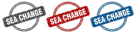 sea change stamp. sea change sign. sea change label set