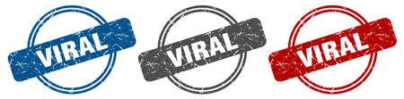 viral stamp. viral sign. viral label set